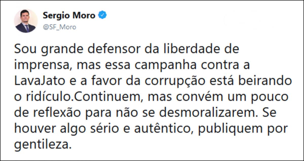 Publicação feita pelo ministro Sérgio Moro na manhã desta terça-feira (16).