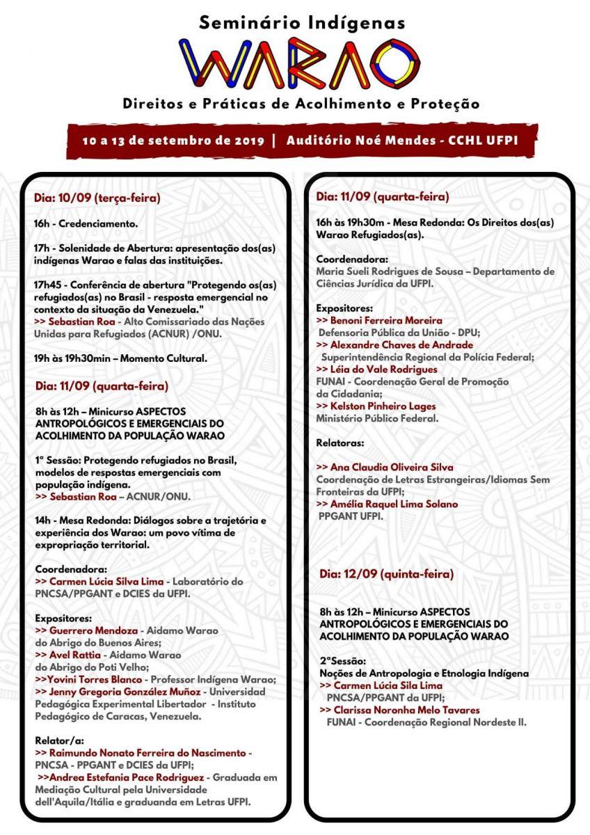 Cronograma do seminário Warao. Foto: Reprodução