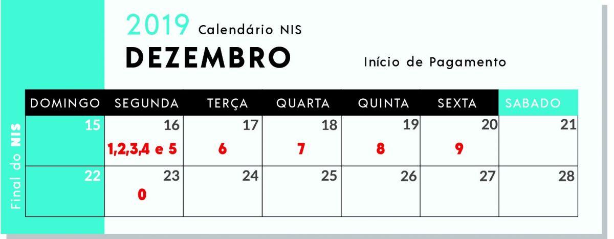 Calendário de recebimento de acordo com o NIS - Foto: Reprodução/MAPA