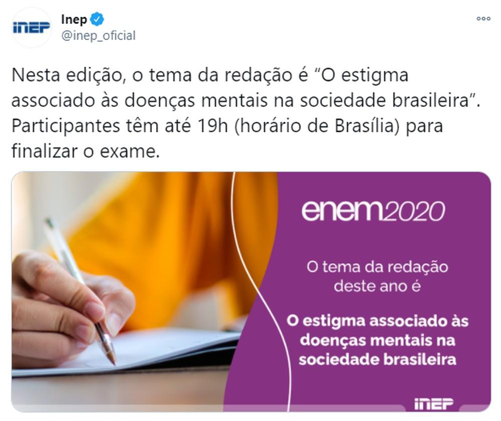 """Redação do Enem: tema da edição de 2020 é """"O estigma associado às doenças mentais na sociedade brasileira"""""""