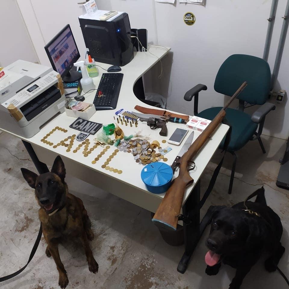 Cães farejadores encontram drogas em clube em Itainópolis