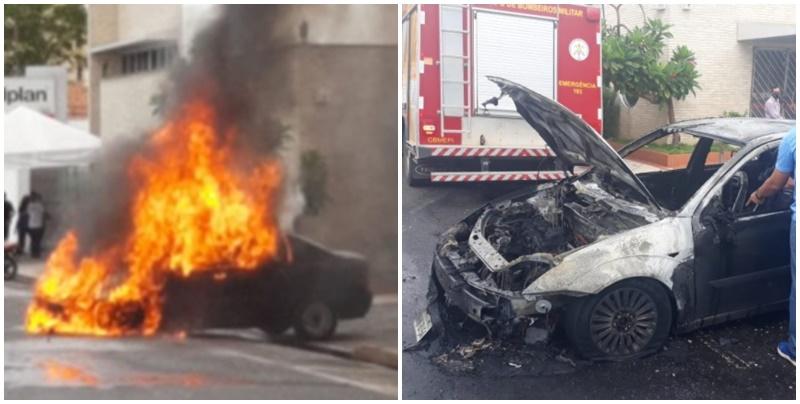 Carro pega fogo e fica destruído no Centro de Teresina