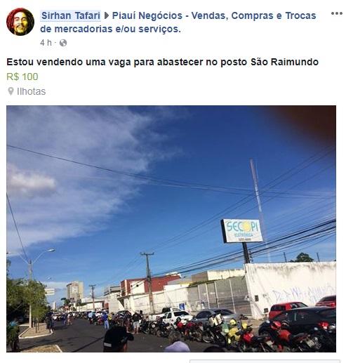 Perfil na rede social vende vaga em fila de posto de combustível em Teresina