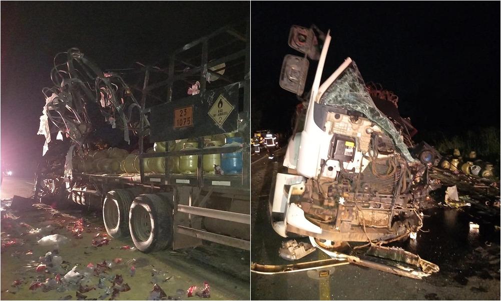 Uma pessoa morre e três ficam feridas em acidente entre carretas
