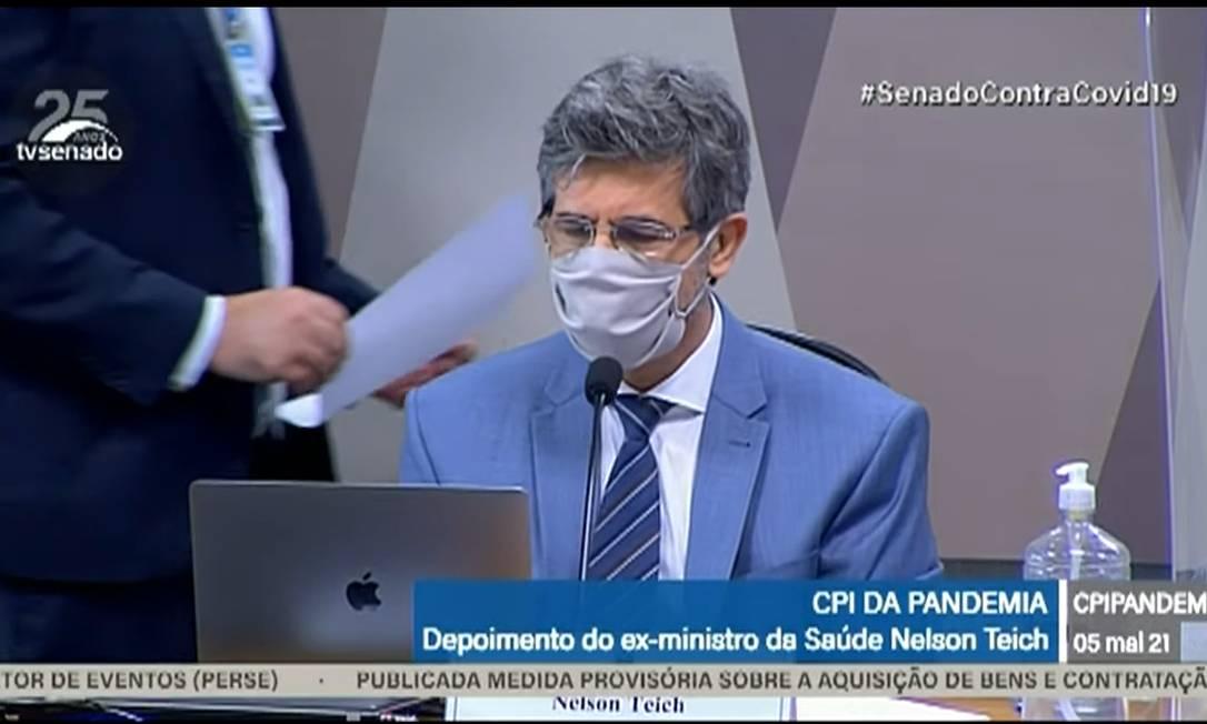 Em depoimento à CPI, Teich diz que deixou ministério por pressão para uso de cloroquina