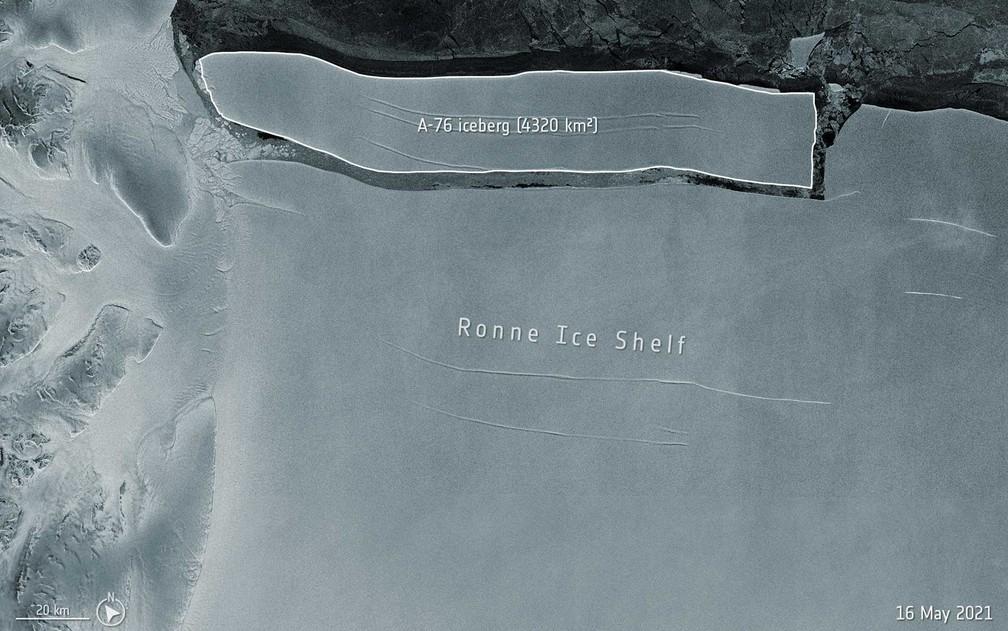 Iceberg que tem 3 vezes o tamanho da cidade de SP se separa na Antártica