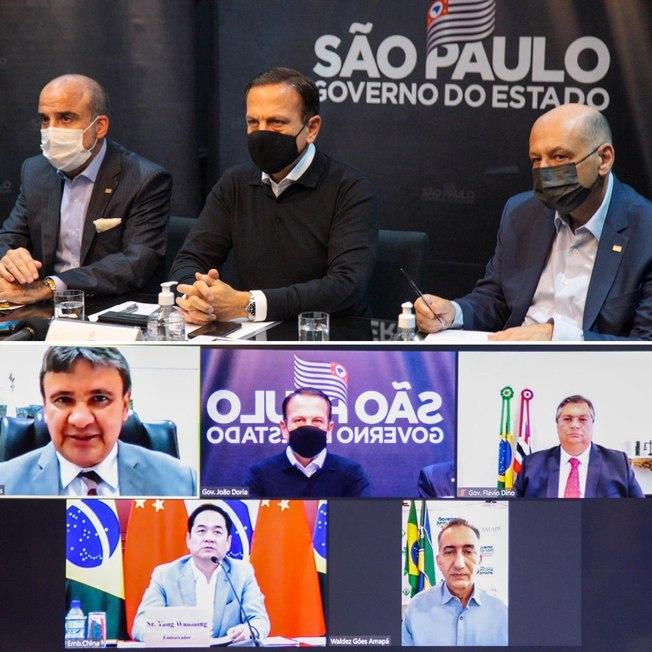 Governadores do Brasil e embaixador da China e discutem liberação de insumos