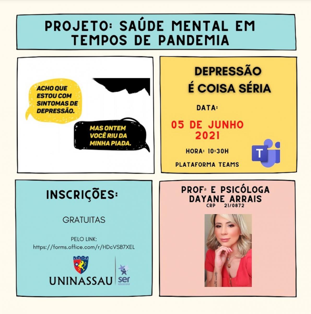 Depressão é tema de palestra online com psicólogos