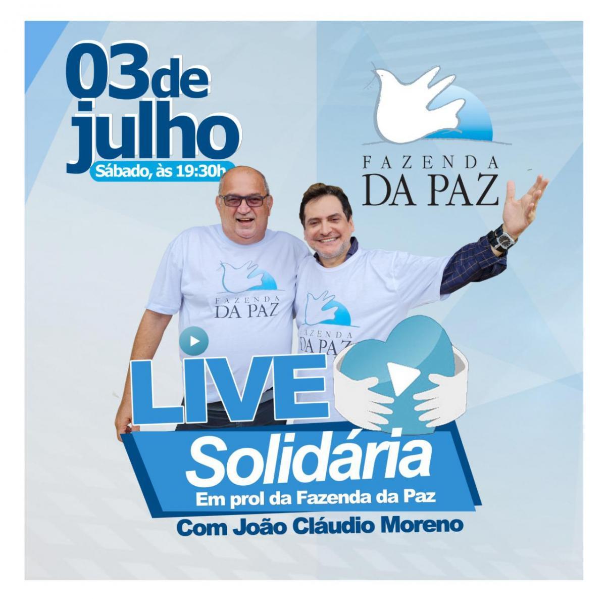 João Cláudio Moreno fará live solidária para ajudar Fazenda da Paz