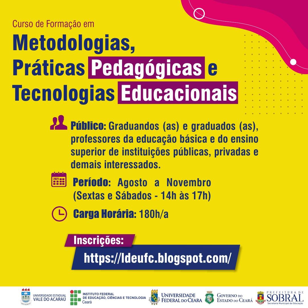 """Curso de formação em """"Metodologias, Práticas Pedagógicas e Tecnologias Educacionais"""" será ofertado gratuitamente"""