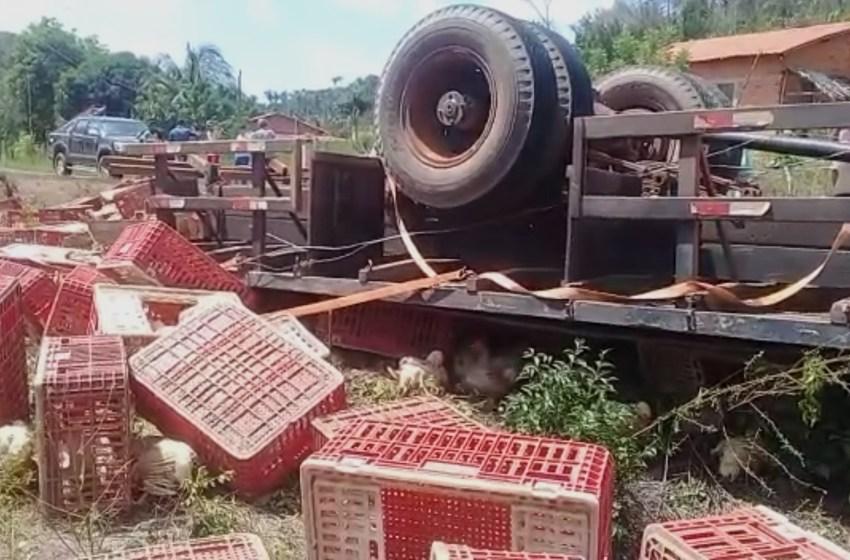 Pessoa fica presa às ferragens após caminhão de frango tombar