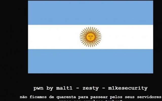 Anvisa tem página hackeada com bandeira da Argentina