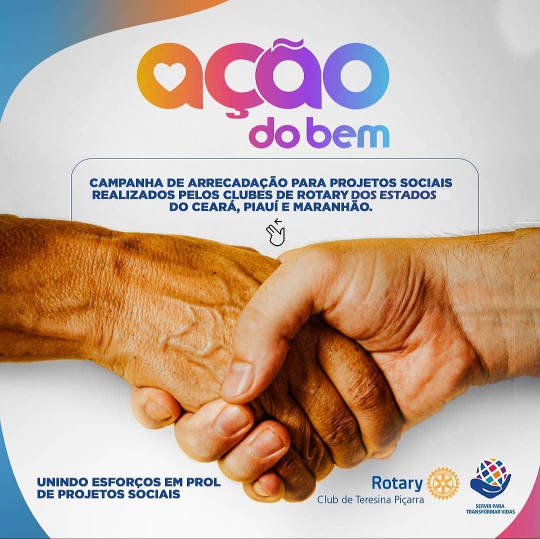 """Rotary Club Teresina Piçarra realiza campanha """"Ação do bem"""" para estimular trabalho voluntário"""