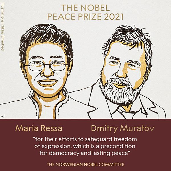 Jornalistas Maria Ressa e Dmitri Muratov ganham prêmio Nobel da Paz de 2021
