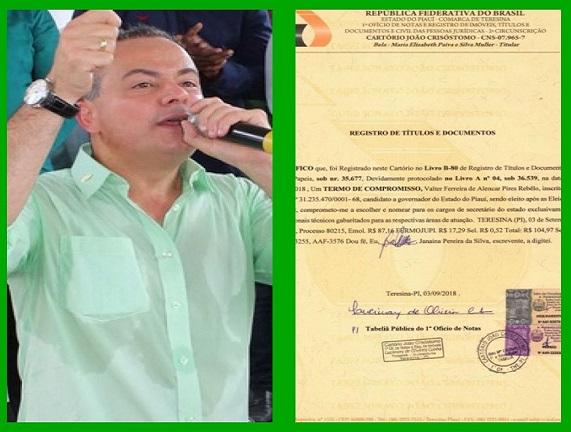 Valter Alencar se compromete em cartório a nomear exclusivamente secretários técnicos em seu Governo
