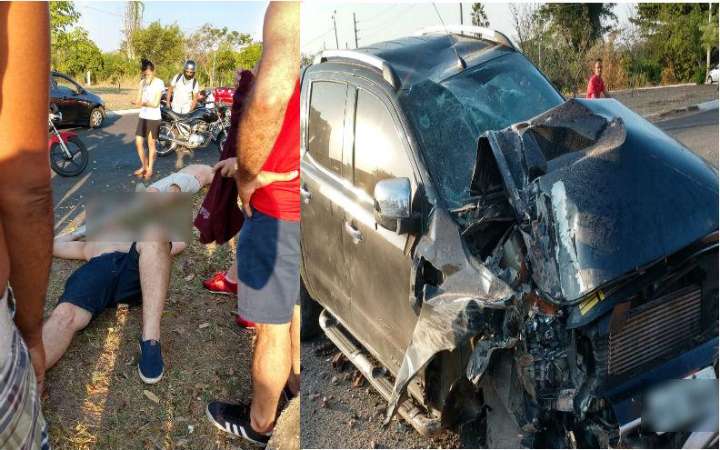 Jovens colidem caminhonete com poste e ficam gravemente feridos na av. Raul Lopes