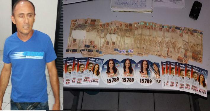 PM prende homem com R$ 3 mil e santinhos de políticos no Piauí