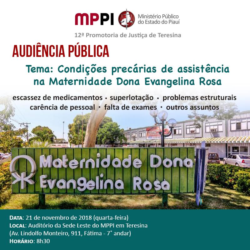 Audiência pública vai discutir condições precária da Maternidade Dona Evangelina Rosa