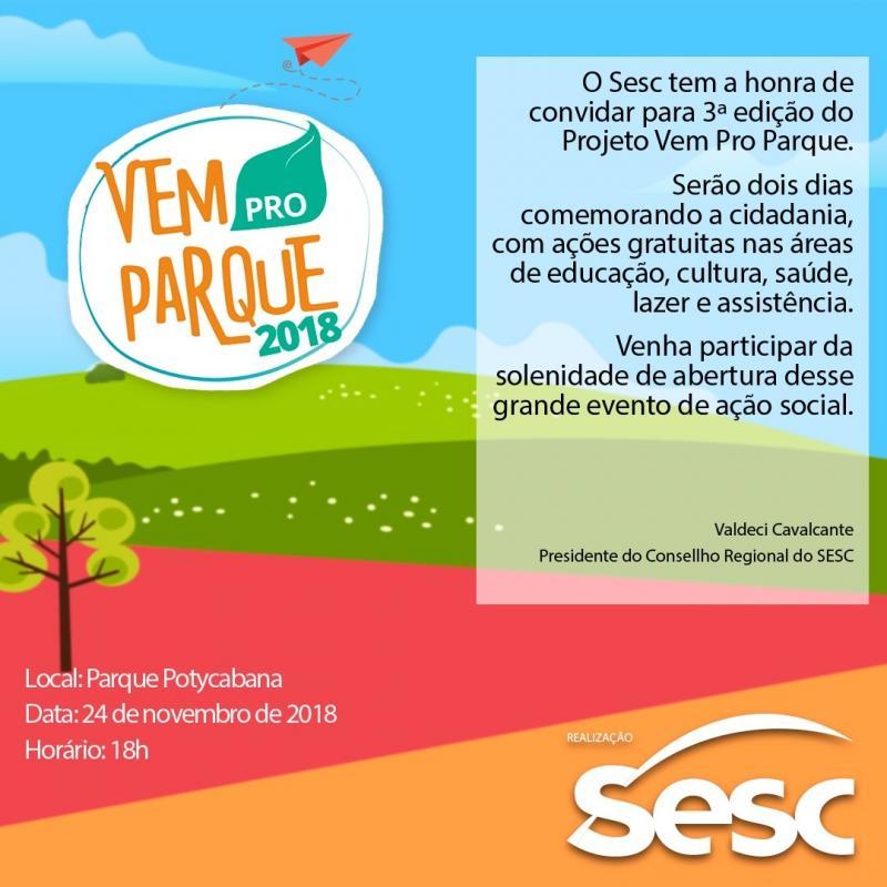 Vem Pro Parque: Sesc levará atendimento à saúde, esporte, lazer e cultura para Potycabana