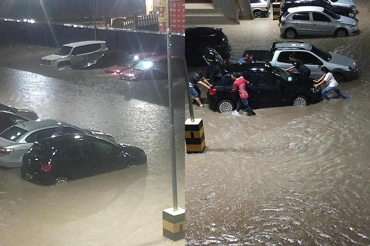 Forte chuva causa estragos e arrasta veículos em Teresina