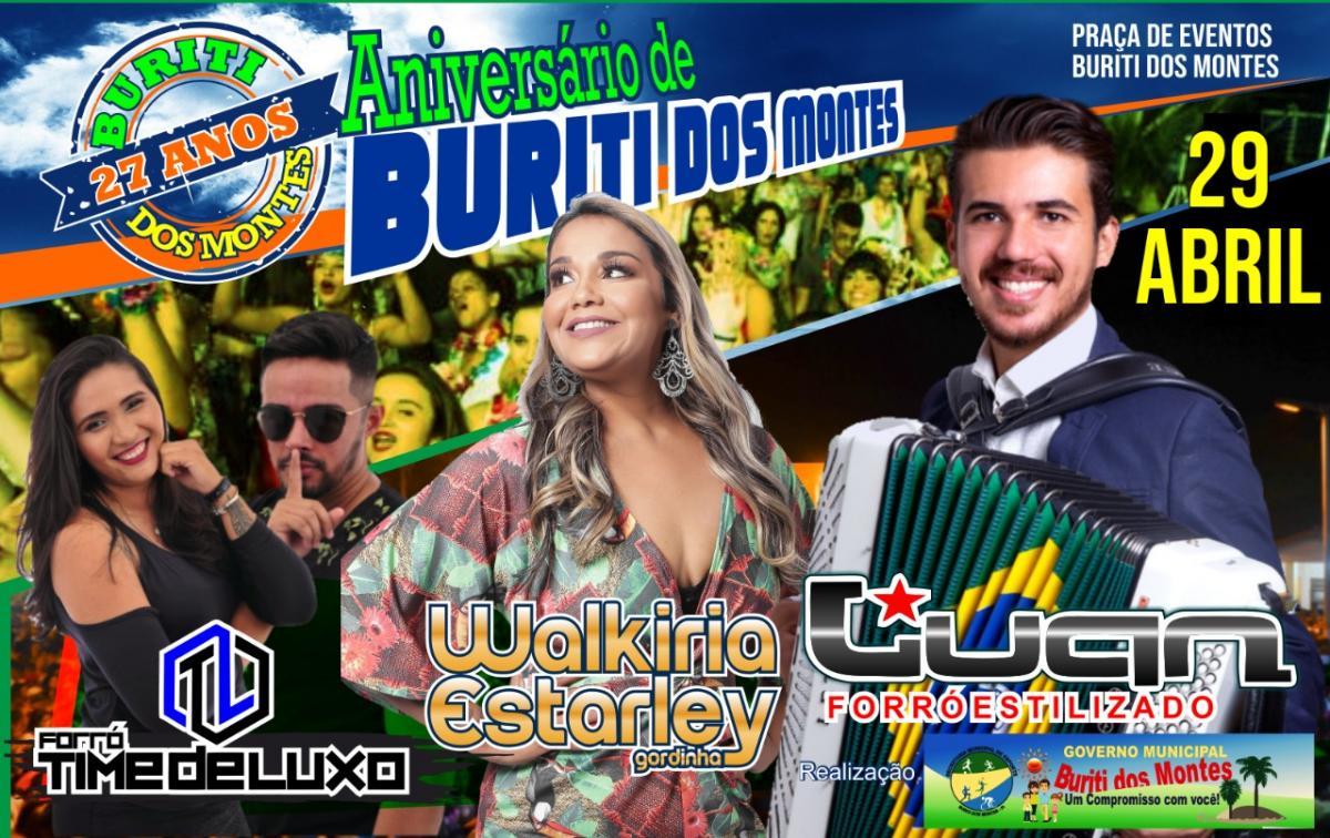Prefeitura de Buriti dos Montes divulga programação de festa do 27º aniversário da cidade