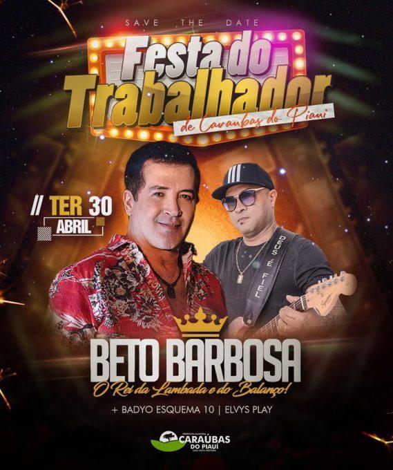 Prefeitura de Caraúbas divulga atrações da Festa do Trabalhador