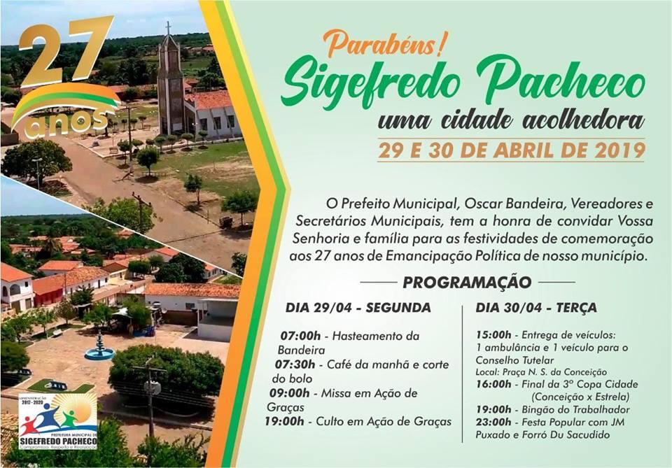 Prefeitura de Sigefredo Pacheco divulga programação para comemorar 27 anos de emancipação política