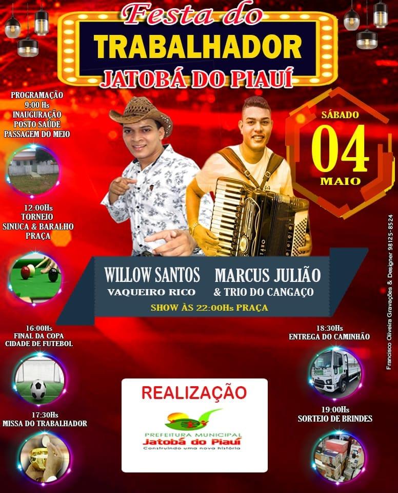 Prefeitura de Jatobá do Piauí divulga programação da festa do trabalhador