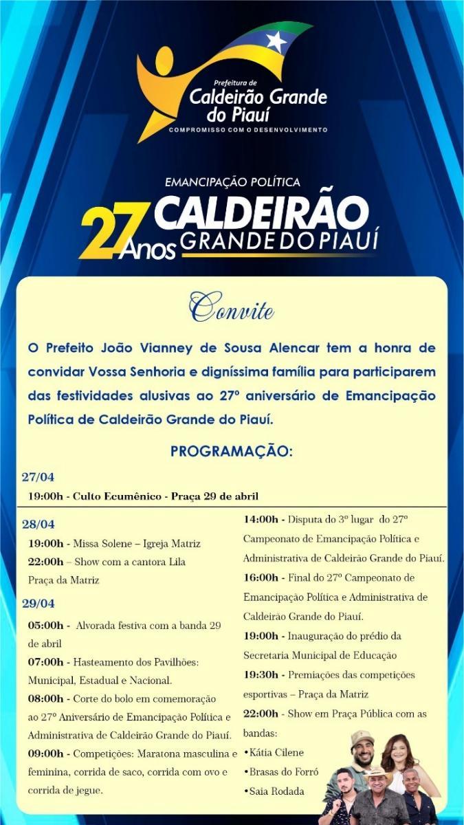 Prefeito Vianney divulga programação de festa do aniversário de Caldeirão Grande do Piauí