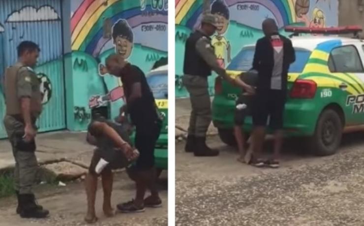 Policiais espancam preso algemado em Teresina