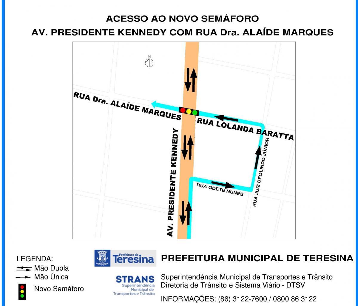 Novo semáforo é colocado na Avenida Kennedy