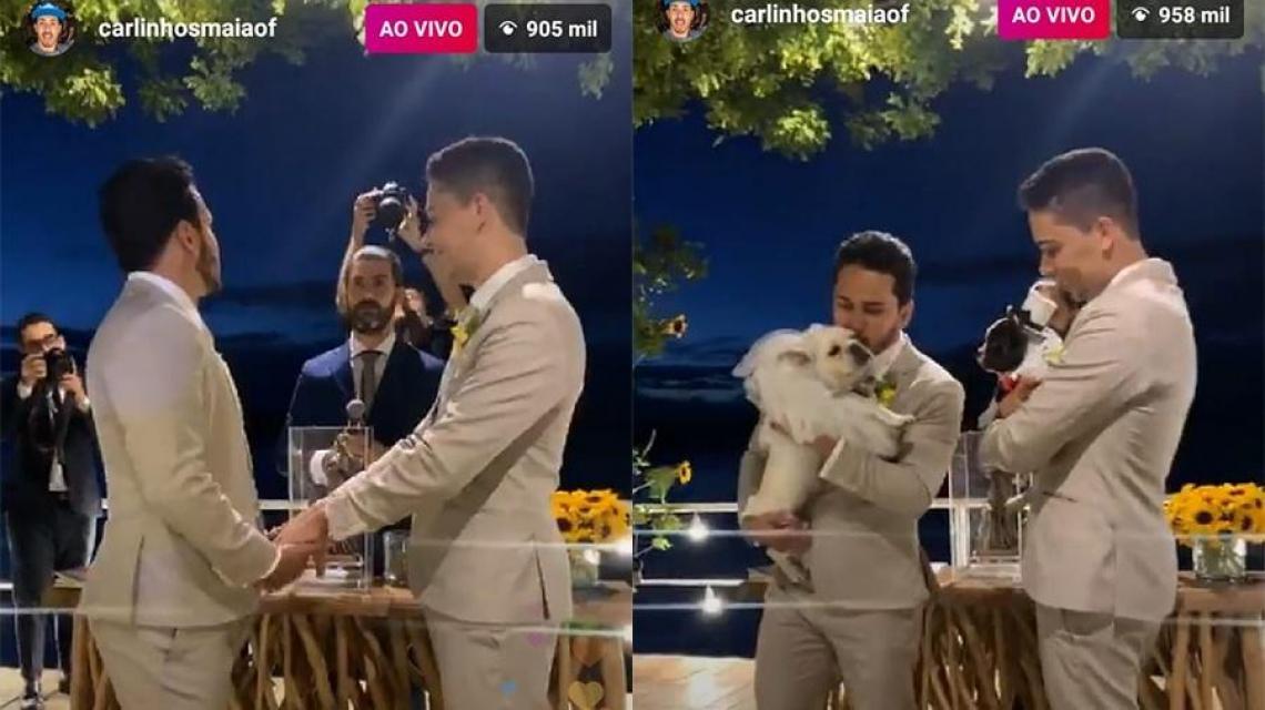 Carlinhos Maia transmite casamento ao vivo e quase 1 milhão de fãs assistem