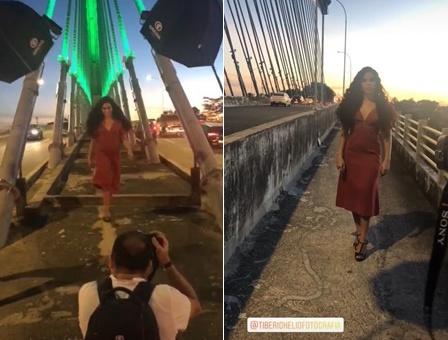 Em Teresina, ex-BBB Elana faz ensaio em pontos turísticos da cidade