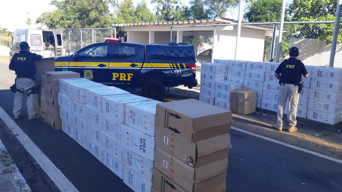 PRF apreende 58 mil maços de cigarros contrabandeados na BR 343 em Campo Maior