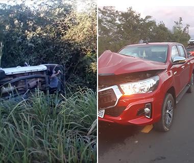 Camionete cai em ribanceira em acidente na BR-316