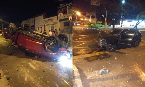 Caminhonete capota após colidir com carro na Avenida Miguel Rosa; dois ficaram feridos