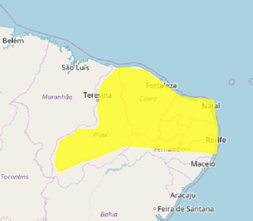 Inmet emite alerta para chuvas forte em cidades do Piauí