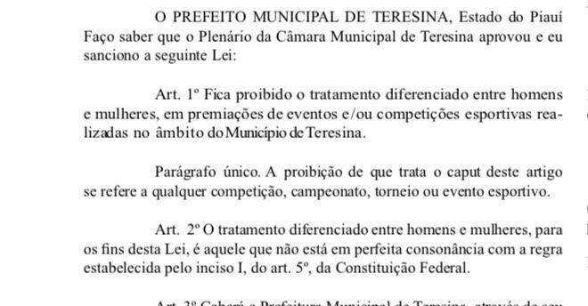 Entra em vigor lei que proíbe diferença de premiação para mulheres em Teresina