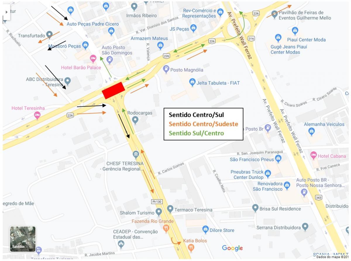 Obra do elevado da Avenida Barão de Gurgueia interdita principais vias nesse final de semana em Teresina