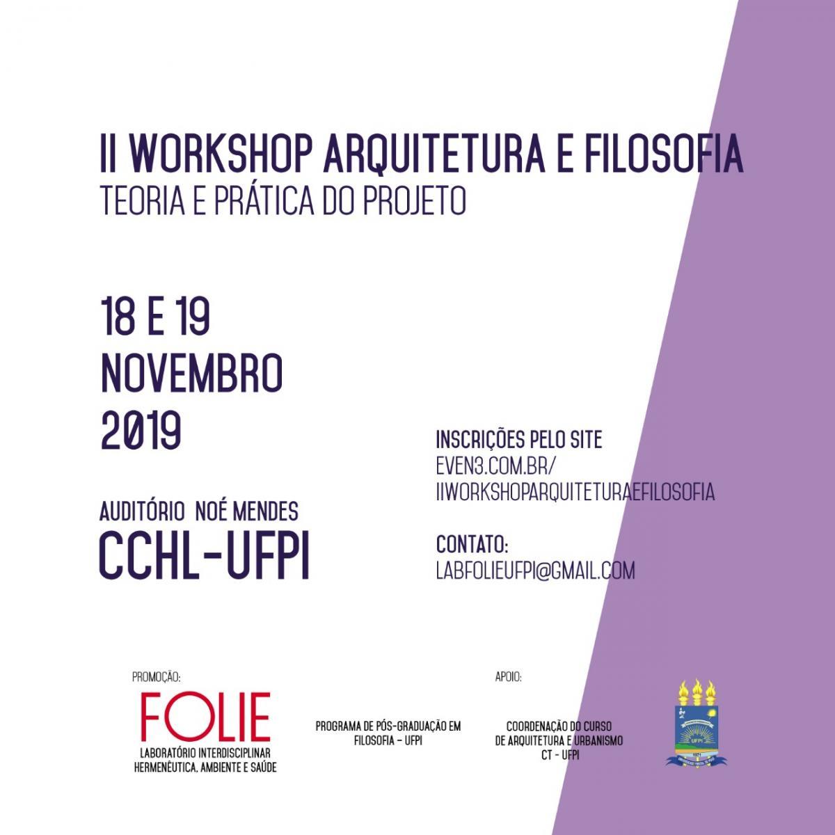 Inscrições abertas para o II Workshop Arquitetura e Filosofia: Teoria e Prática do Projeto em Teresina