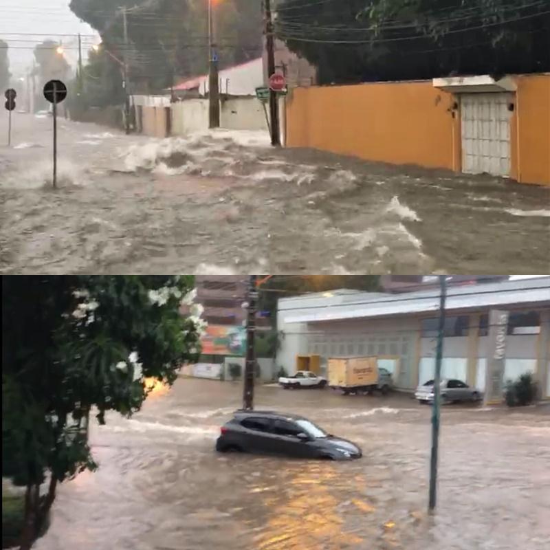 Forte chuva alaga bairros, arrasta veículos e causa estragos nesta terça-feira em Teresina