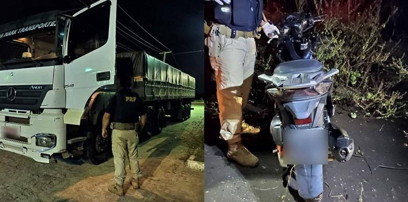 Motorista morre em colisão entre moto e caminhões na cidade de Campo Maior