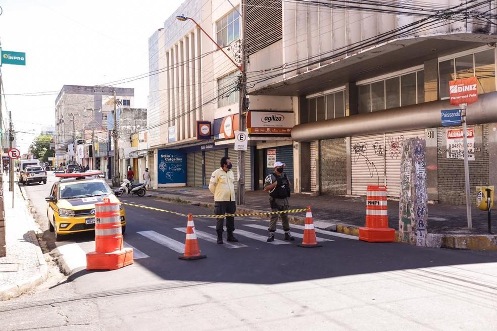 Strans realiza mais três pontos de bloqueio no Centro de Teresina