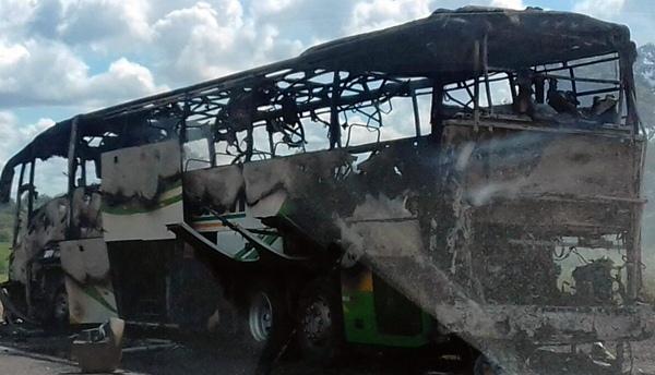 Ônibus interestadual pega fogo na BR-343