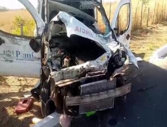 Ambulância fica destruída após colisão com animal na BR-343