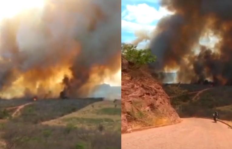 Incêndio de grandes proporções assusta moradores em Palmeira do Piauí