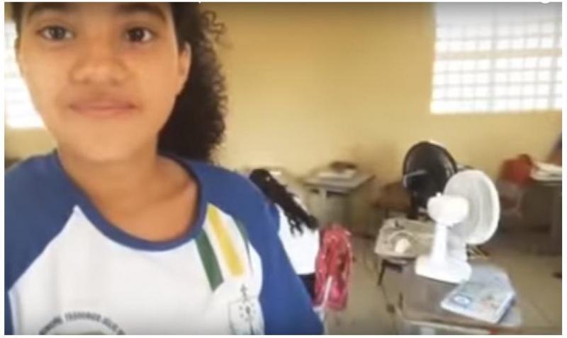 Devido ao calor, alunos levam ventiladores de casa para o colégio em Piripiri